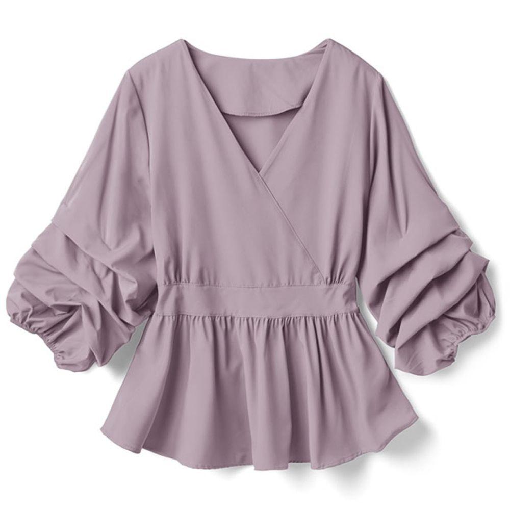 日本 GRL - V領層次感袖口七分袖上衣-紫