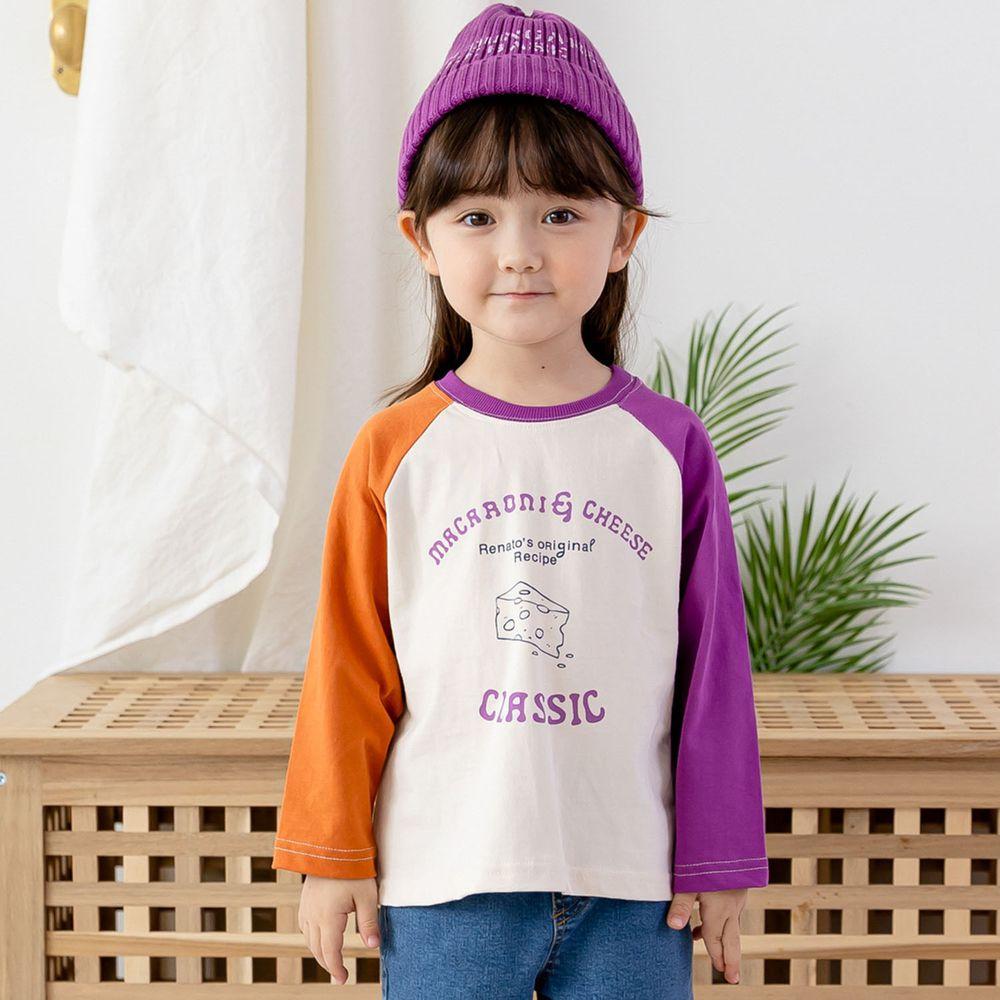 韓國 ERU - 彩虹拼接色袖T-紫X橘