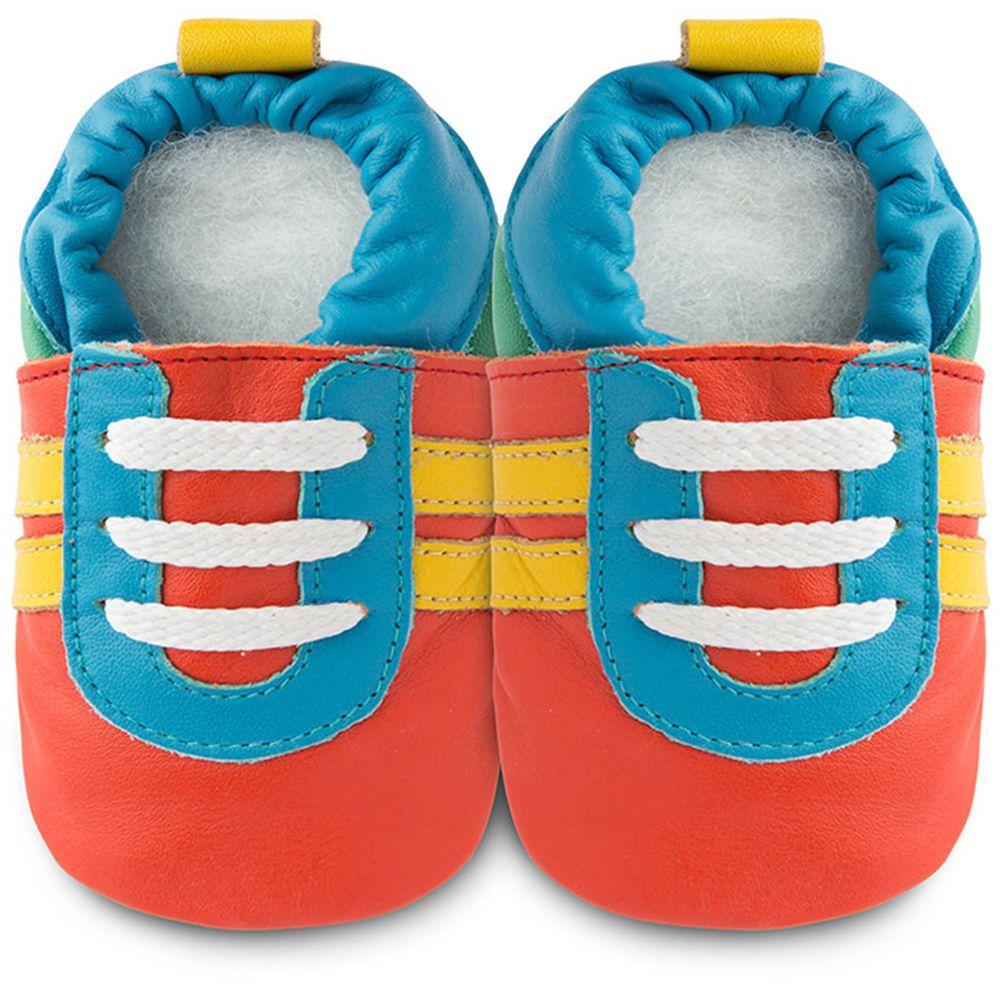 英國 shooshoos - 健康無毒真皮手工鞋/學步鞋/嬰兒鞋/室內鞋/室內保暖鞋-橘底/藍黃運動型