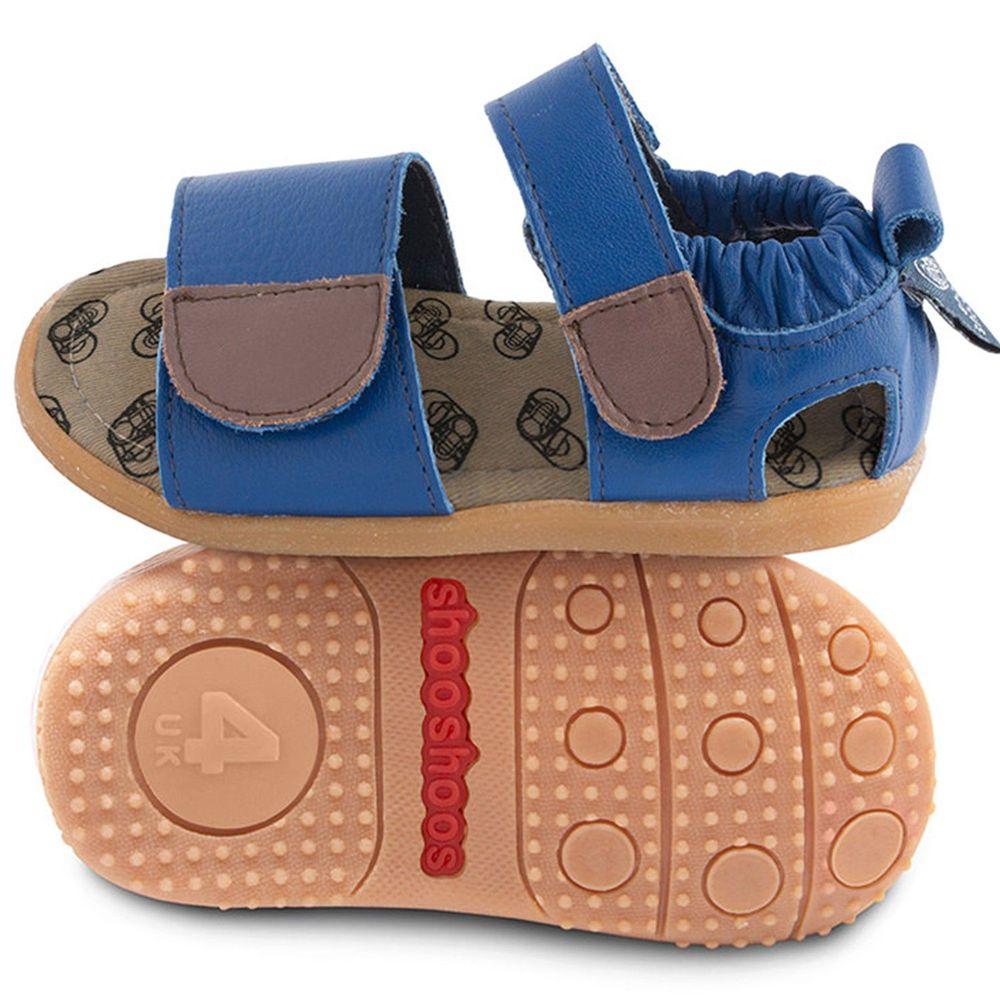 英國 shooshoos - 健康無毒真皮手工涼鞋/童鞋-寶藍開放式涼鞋