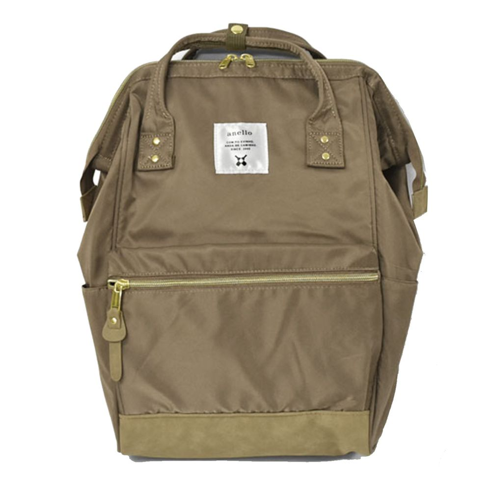 日本 Anello - 日本大開口高密度尼龍後背包-Regular大尺寸-GBE金棕