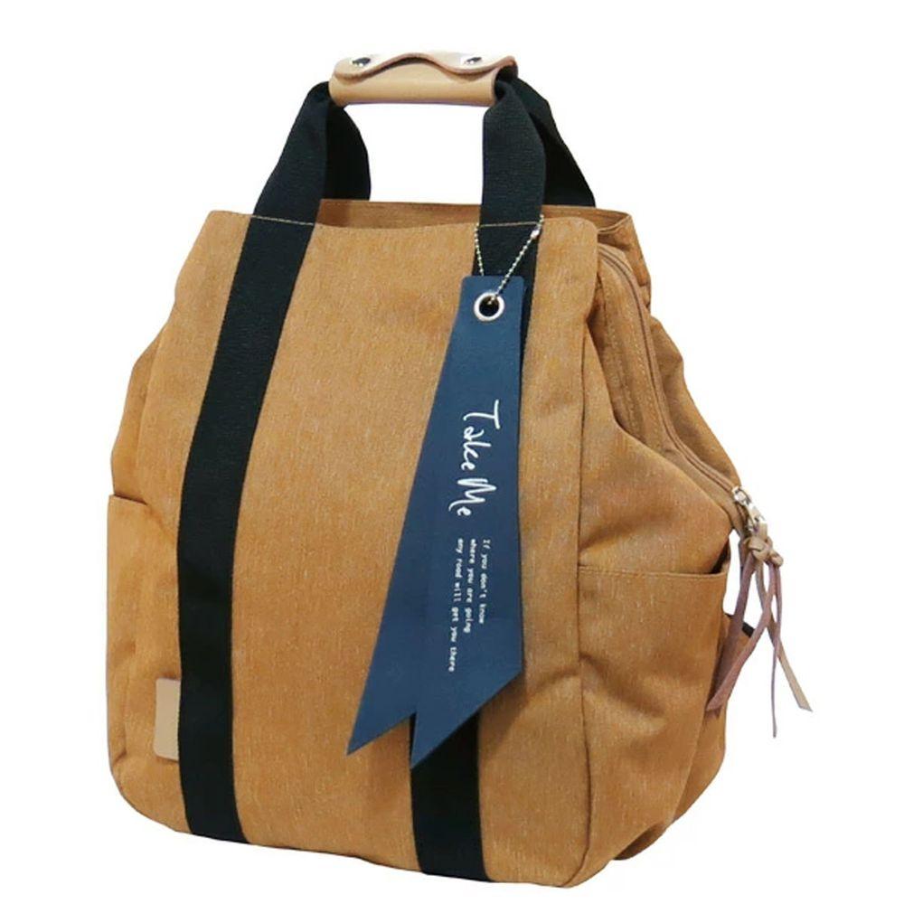 日本 nicott - 文青風 輕量 大開口多功能後背包/媽媽包-焦糖棕 (36x24x14.5cm)