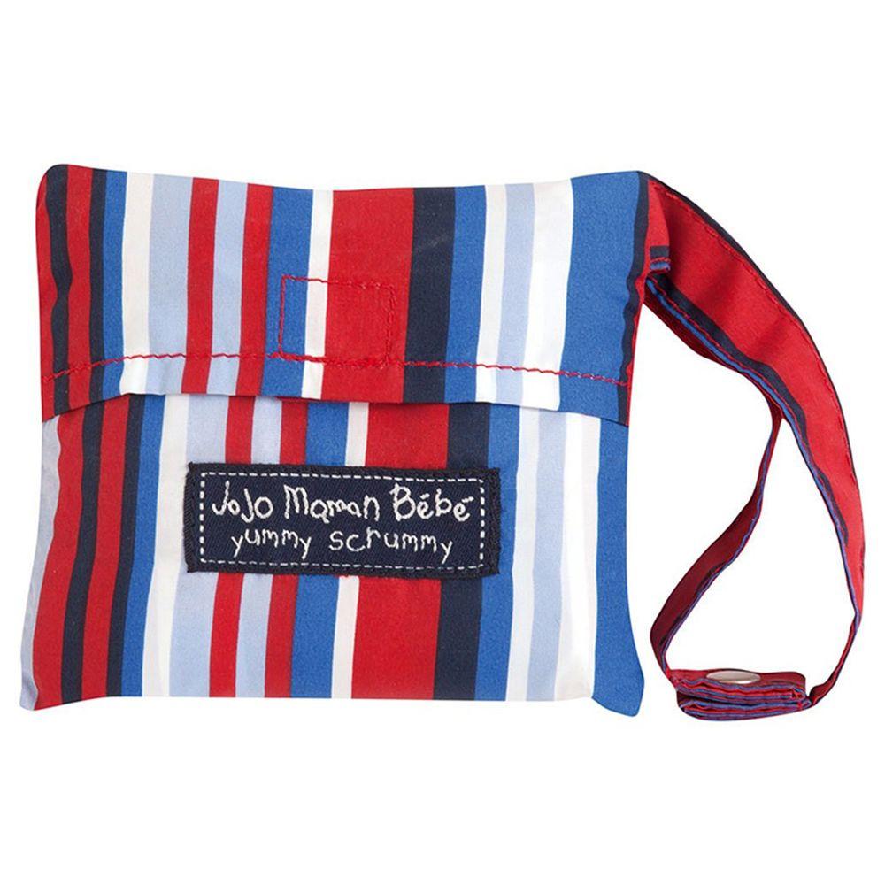英國 JoJo Maman BeBe - 可攜帶式口袋組寶寶安全餐椅套-深藍條紋