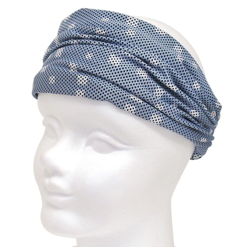 日本 DAIKAI - 3way吸水速乾UV CUT加工 涼感頭巾/髮帶/領巾-方形光點-灰藍