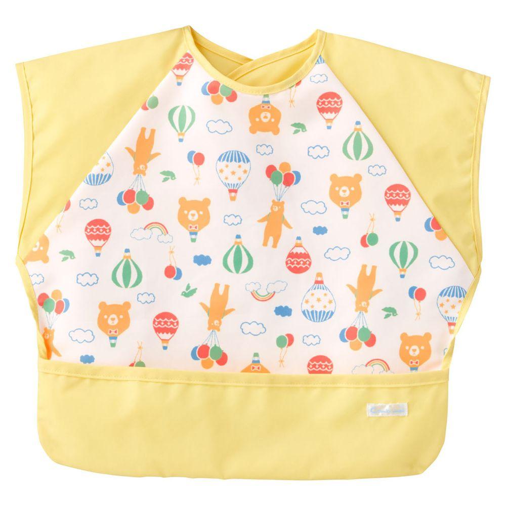 日本 Combi - mini 食事圍兜-短袖款-小熊氣球-清新黃 (L [90-100cm])-12個月起