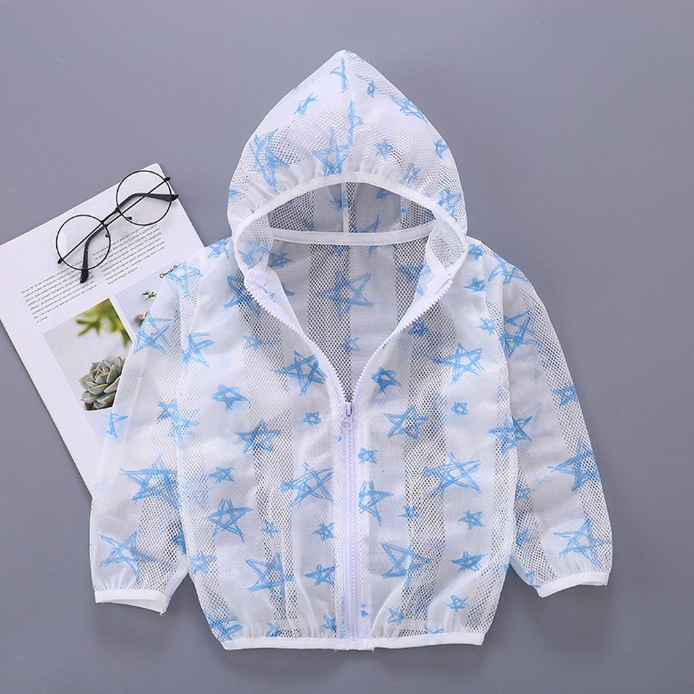 輕薄透氣防曬外套-水藍五角星