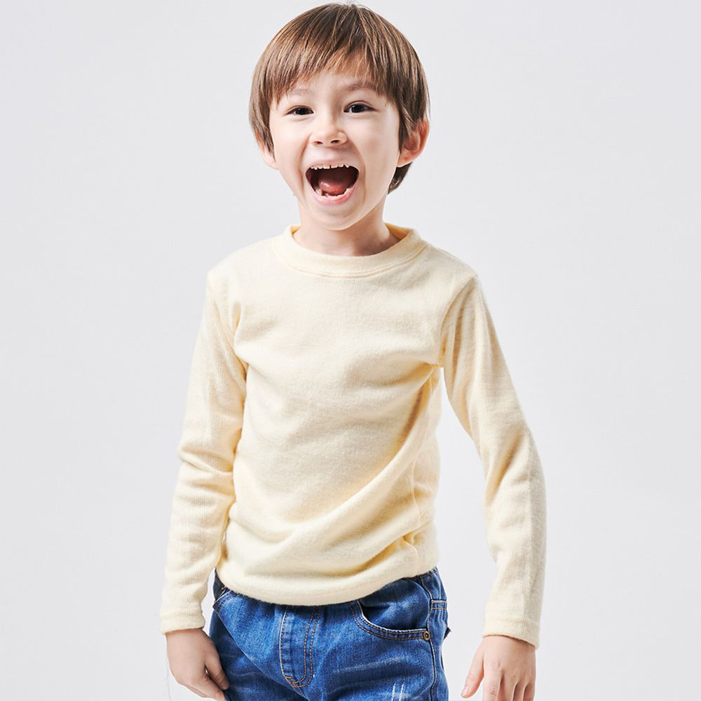 GIAT - 兒童雙刷毛羊絨保暖衣-柔黃