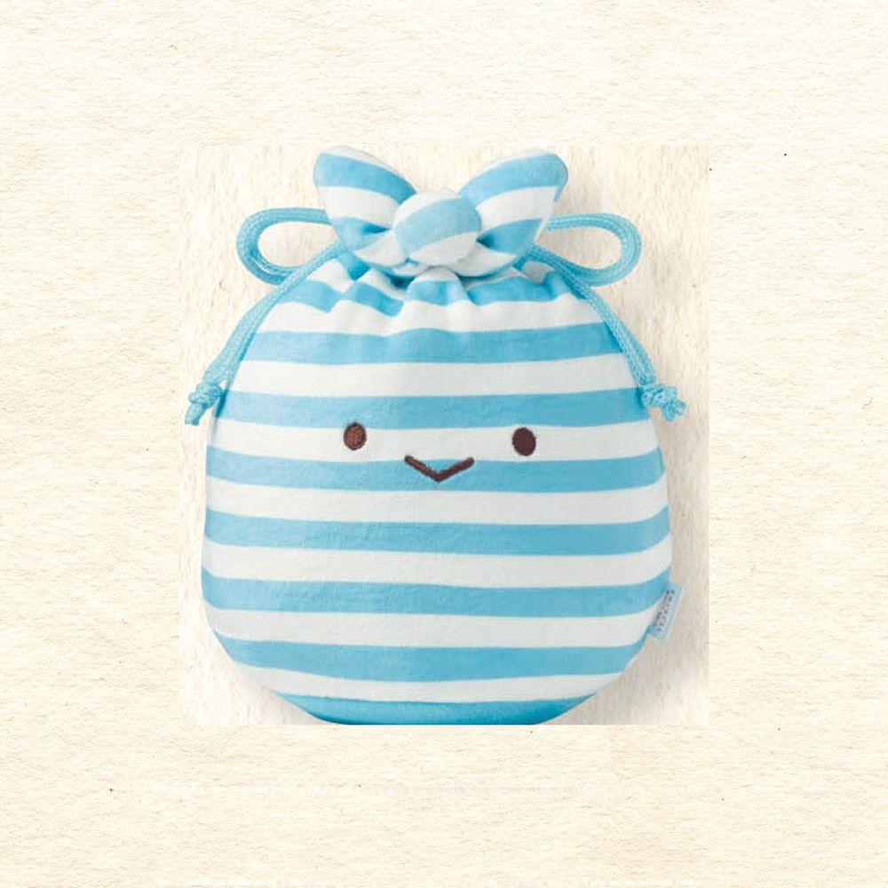 日本千趣會 - 角落生物 彈性伸縮球型束口收納袋-裹布-藍白條紋 (M(最大約22x13x17cm))