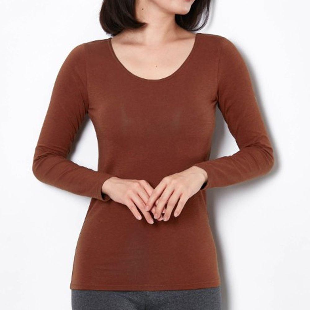 日本千趣會 - 95%棉 (媽媽)圓領十分袖發熱衣-焦糖棕