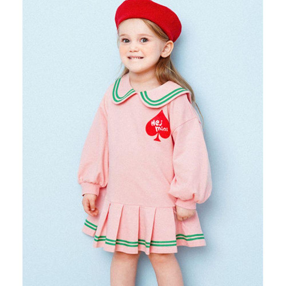 韓國 HEJMINI - 黑桃學院風百摺洋裝-粉紅