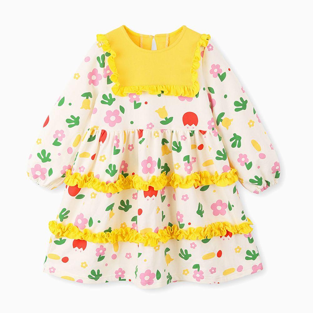 韓國 OZKIZ - 繽紛花園荷葉裝飾洋裝