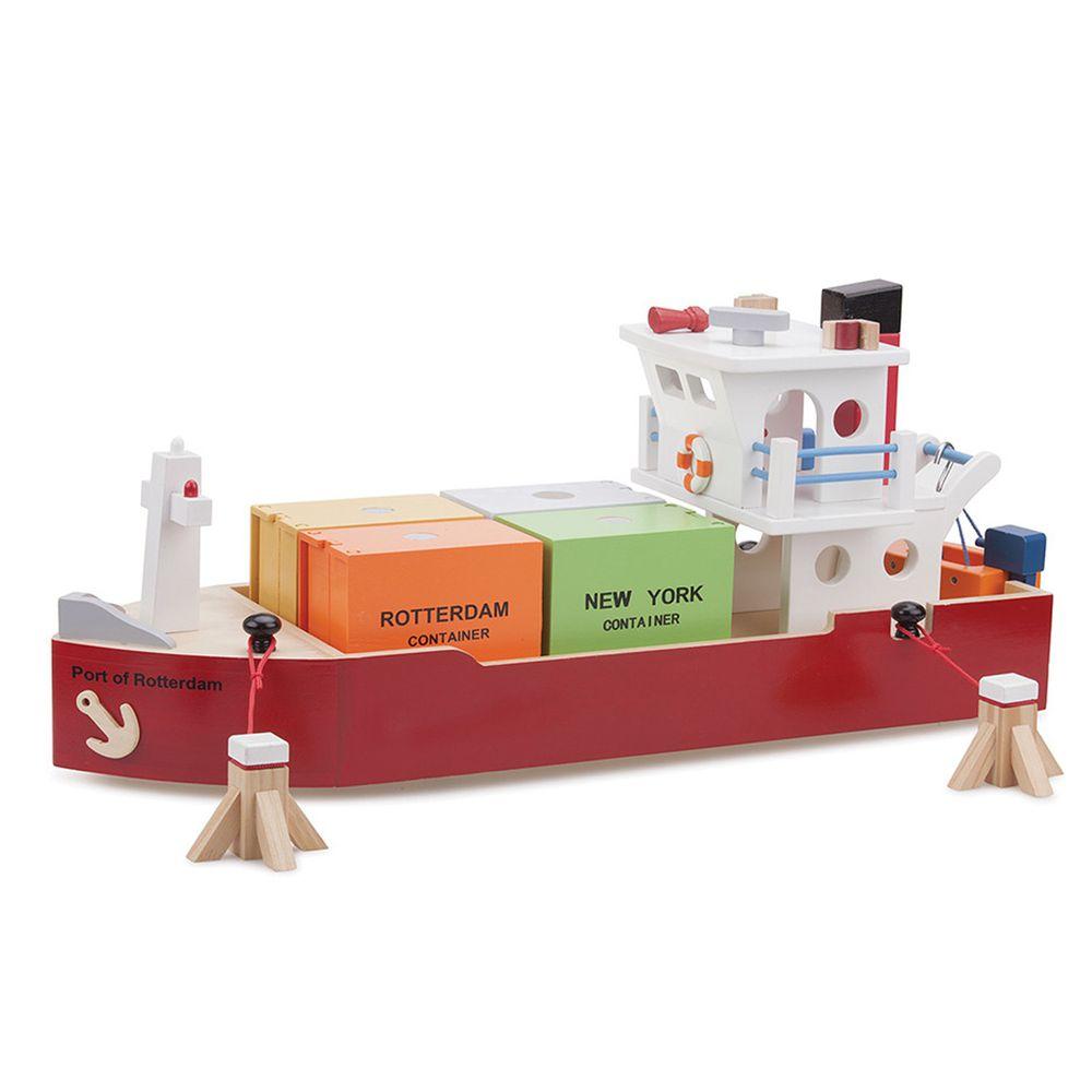 荷蘭 New Classic Toys - 貨櫃系列-木製裝運貨櫃船玩具