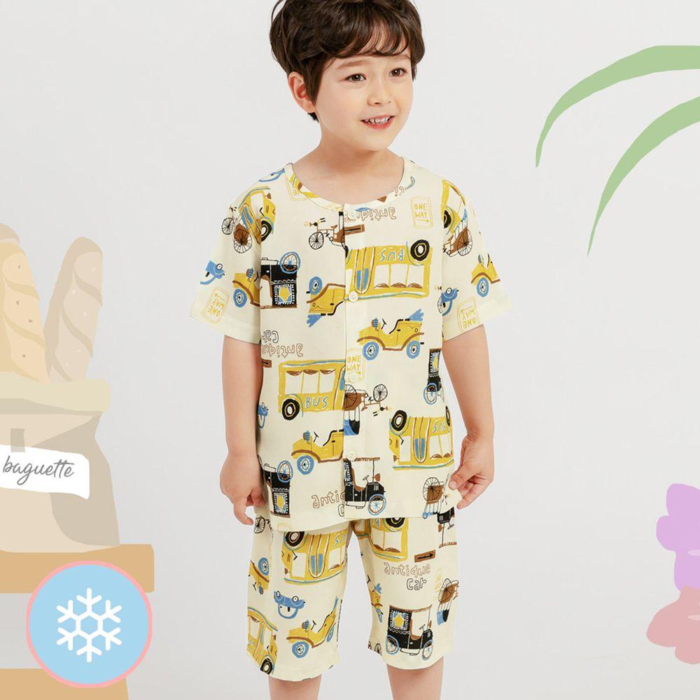 韓國 Mellisse - 韓製涼感嫘縈短袖睡衣/家居服-黃色車車
