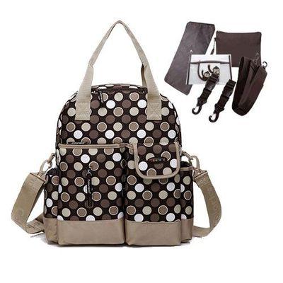 『一包四用款』大容量媽咪包-買一送五-咖啡圓點-五件組(車掛扣+濕物袋+隔尿墊+斜背帶+隨身物品包)