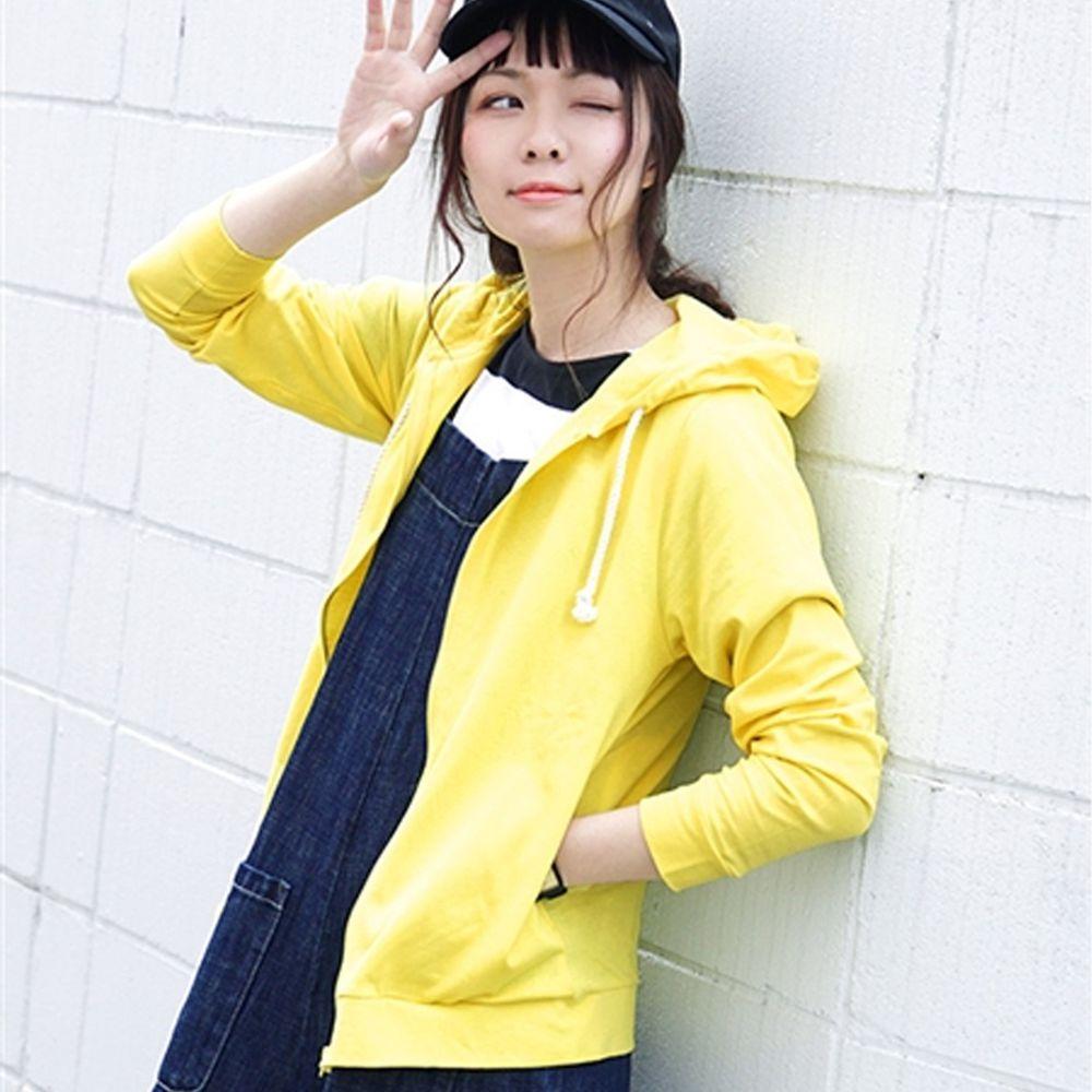 日本 zootie - 撥水X吸水速乾加工 抗透汗純棉防曬連帽外套-黃