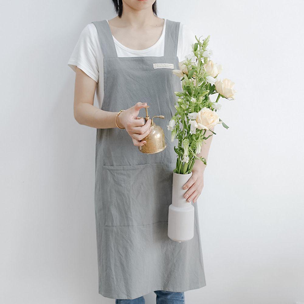 簡約風口袋棉麻圍裙-灰色