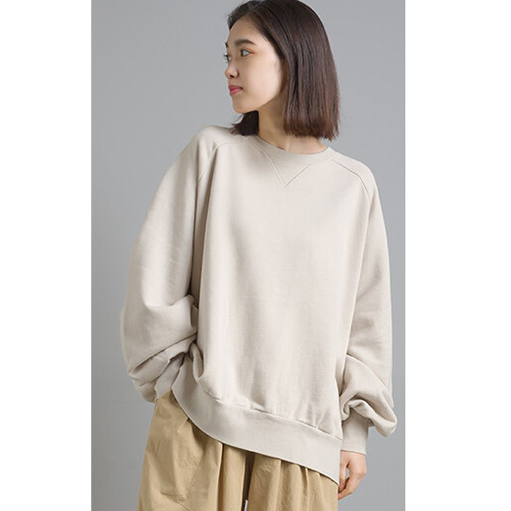 日本女裝代購 - 質感純棉裏毛印花大學T-象牙白