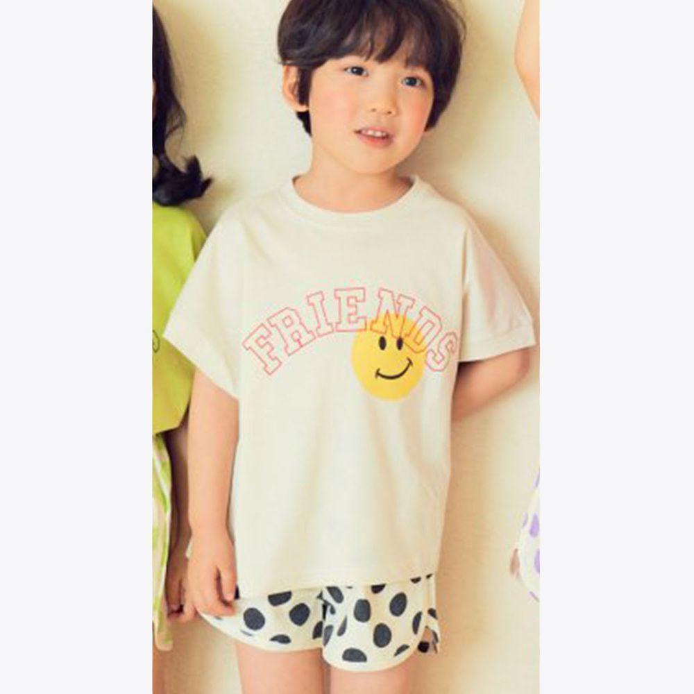 韓國 Hanab - 波點笑臉套裝-象牙白