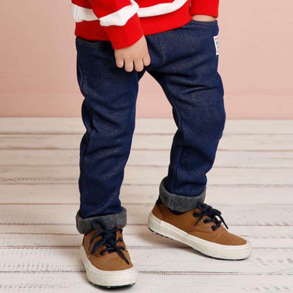 韓國 Jelispoon - (內刷毛)雙口袋單寧長褲-深藍