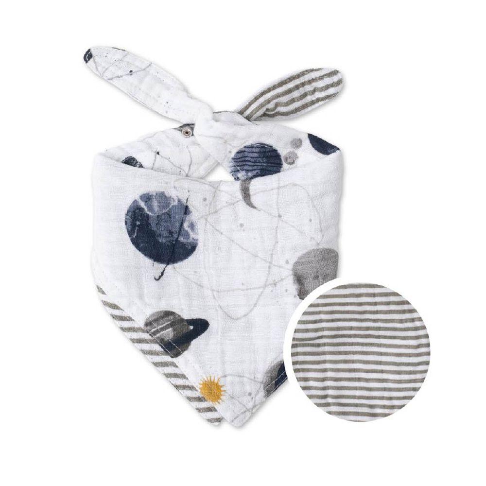 美國 Little Unicorn - 純棉雙面三角圍兜單入-宇宙探險 (17CMx42CM)-雙面/單入