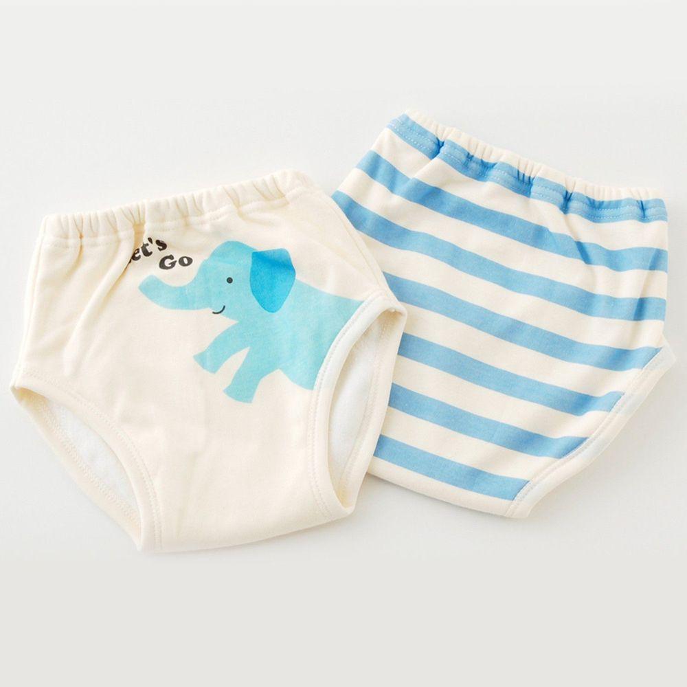 日本 Chuckle Baby - 四層學習褲(兩件組)-大象-藍-密縫式