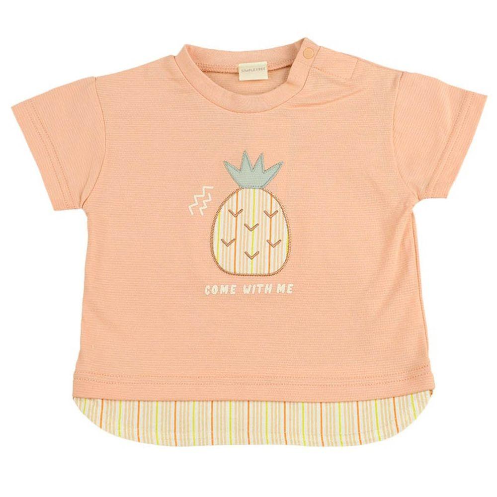 akachan honpo - 下擺拼接短袖T恤-有肩釦-橘色