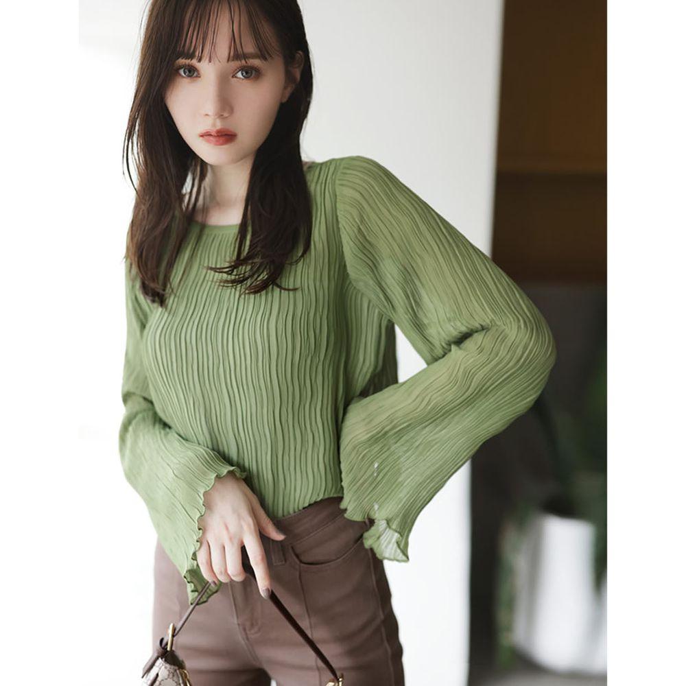 日本 GRL - 水波紋寬袖設計微透膚長袖上衣-綠