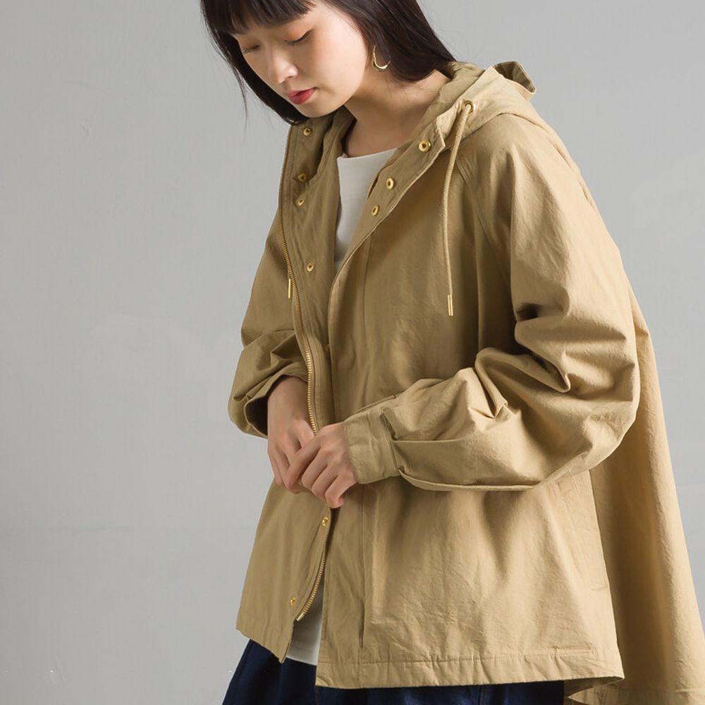日本女裝代購 - 復古洗舊純棉連帽風衣外套-淺杏