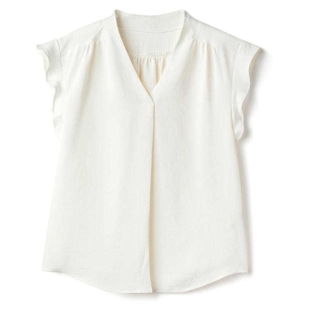 日本 GRL - V領荷葉邊修飾顯瘦短袖雪紡上衣-天使白
