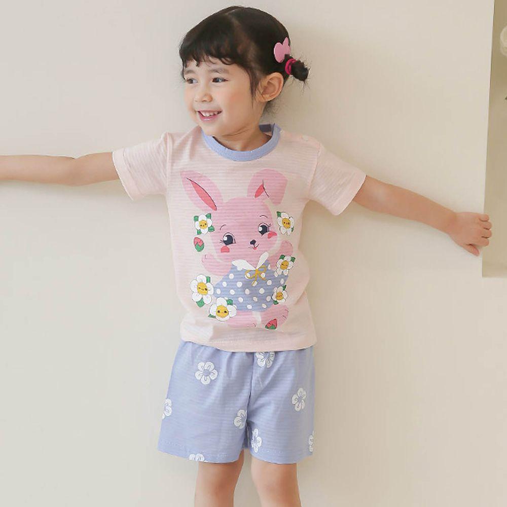 韓國 Puco - 有機棉透氣短袖家居服-跳舞粉兔