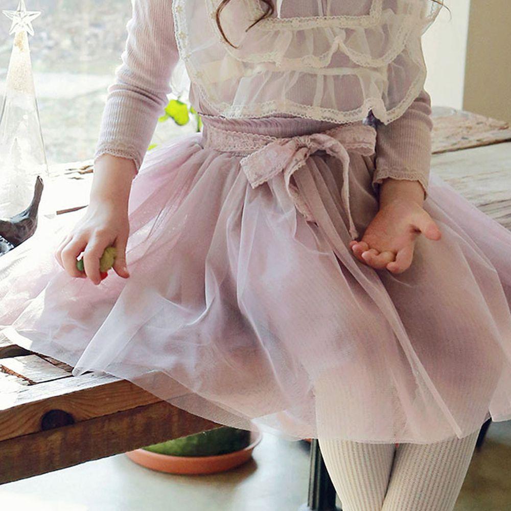 韓國 PuellaFLO - 蕾絲蝴蝶結網紗褲裙-藕粉
