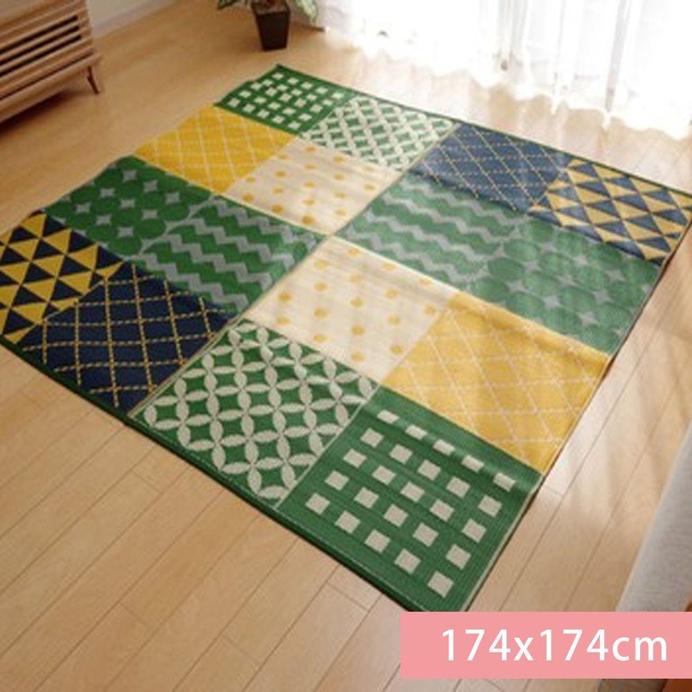 日本池彥 - 過敏協會認證 日本製防蟎蟲野餐墊 / 地毯(4-5人)-幾何-綠 (174x174cm)