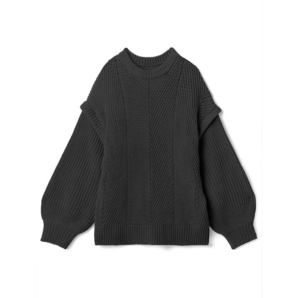 日本 GRL - 交錯羅紋拼接針織毛衣-時尚黑