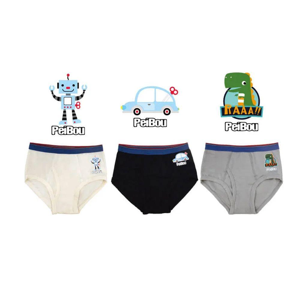 貝寶 - 天絲棉舒膚平衡童男三角褲-3入組-汽車x1+新小暴龍x1+機器人x1