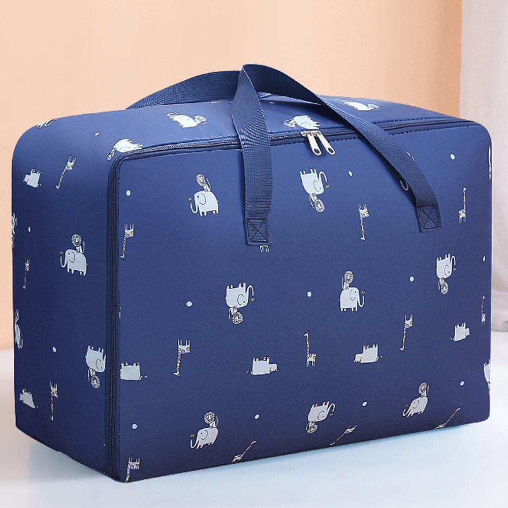 棉被收納提袋-深藍大象