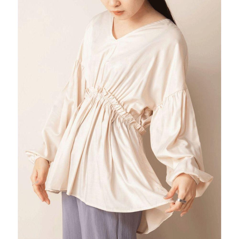 日本 Bou Jeloud - 光澤感美背優雅V領縮腰長袖上衣-米