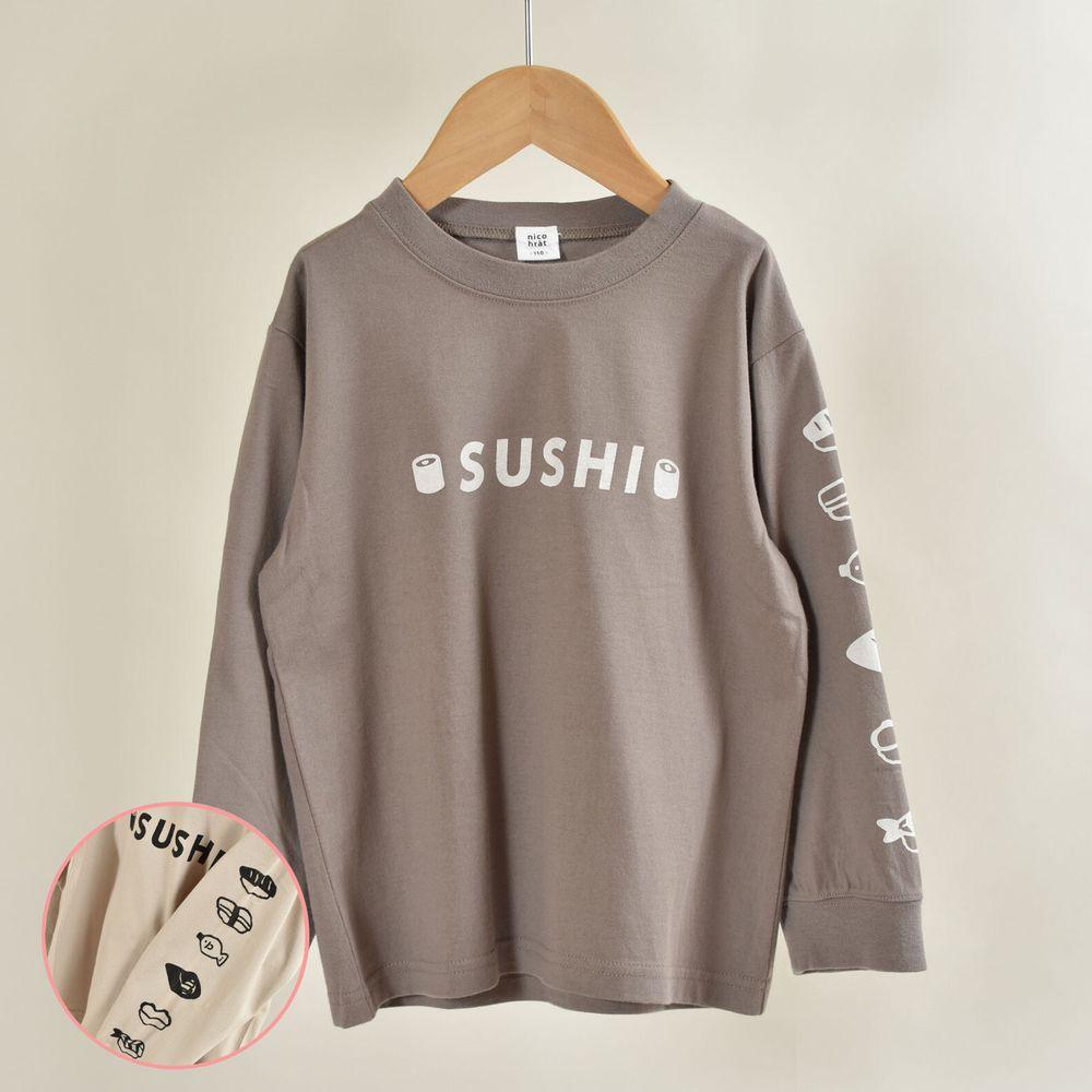 日本 Baby Room - 印花純棉長袖上衣-壽司排排站-炭灰