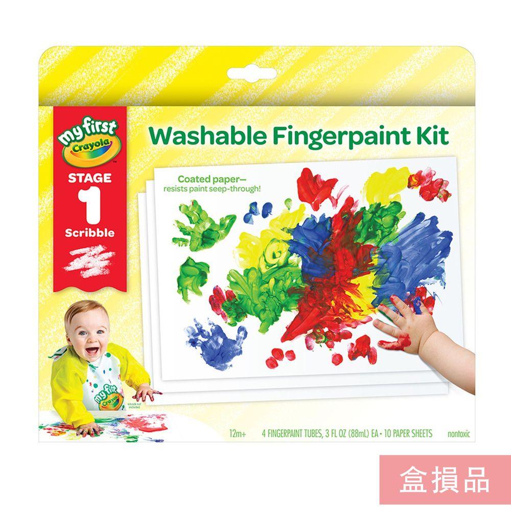 Crayola繪兒樂 - 【盒損品】幼兒可水洗手指畫顏料4色組-(紅/黃/藍/綠)