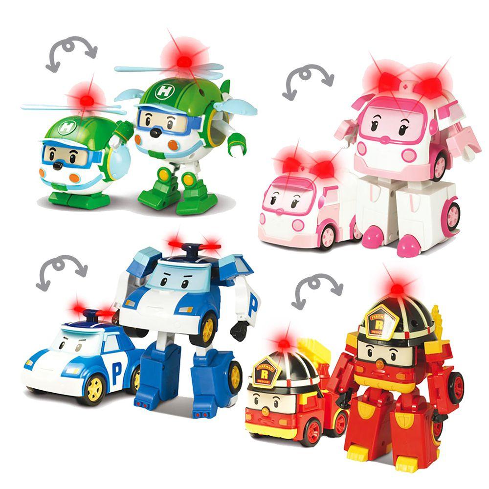 POLI 波力 - 【獨家超值4入組】救援小英雄-LED變形系列-LED變形羅伊+LED變形波力+LED變形安寶+LED變形赫利