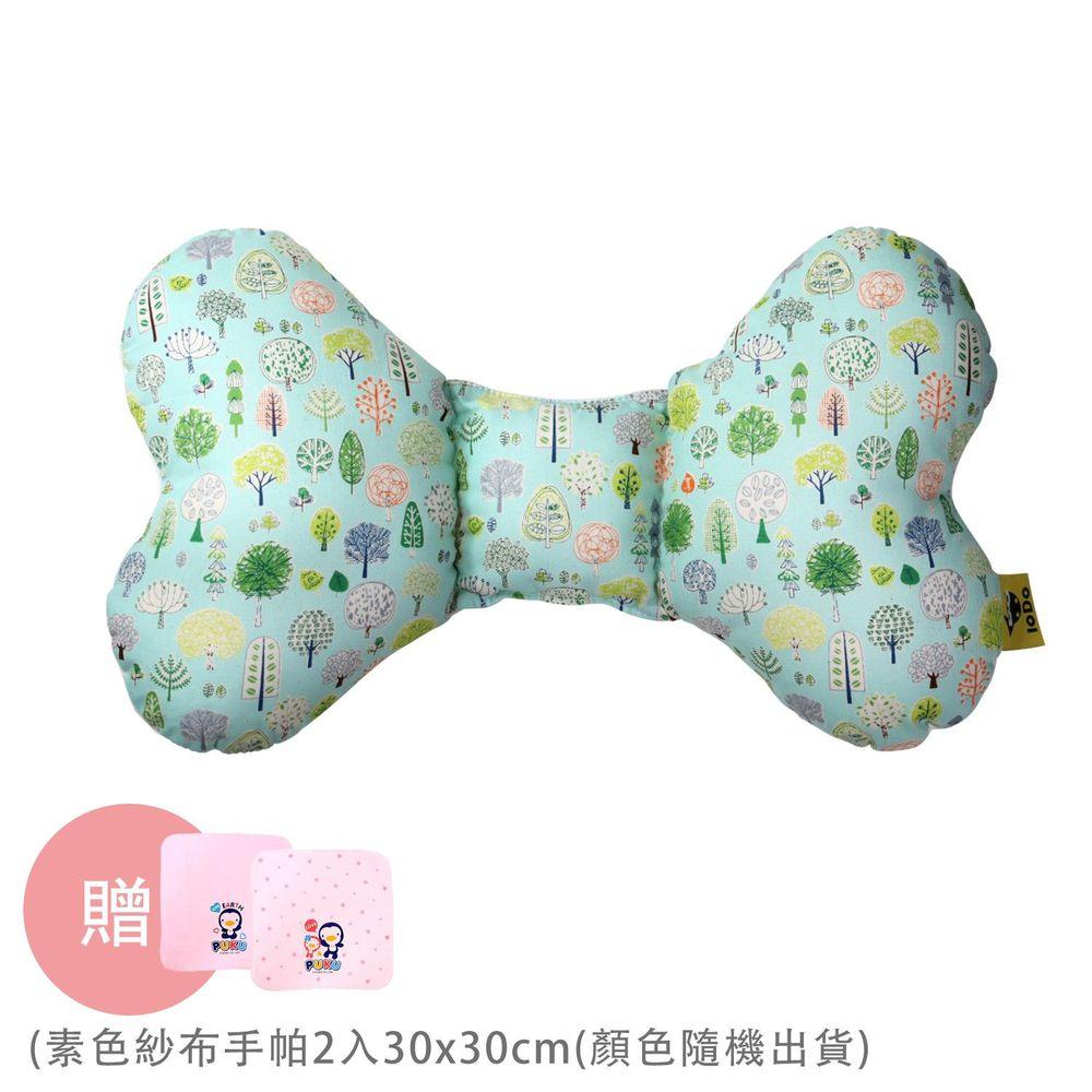 PUKU 藍色企鵝 - LoDo 透氣樂豆枕/護頸枕-森林公園-買贈紗布手帕-顏色隨機出貨x2條入
