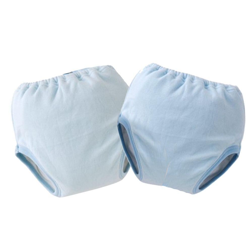 日本 Chuckle Baby - 四層學習褲(兩件組)-素色-藍