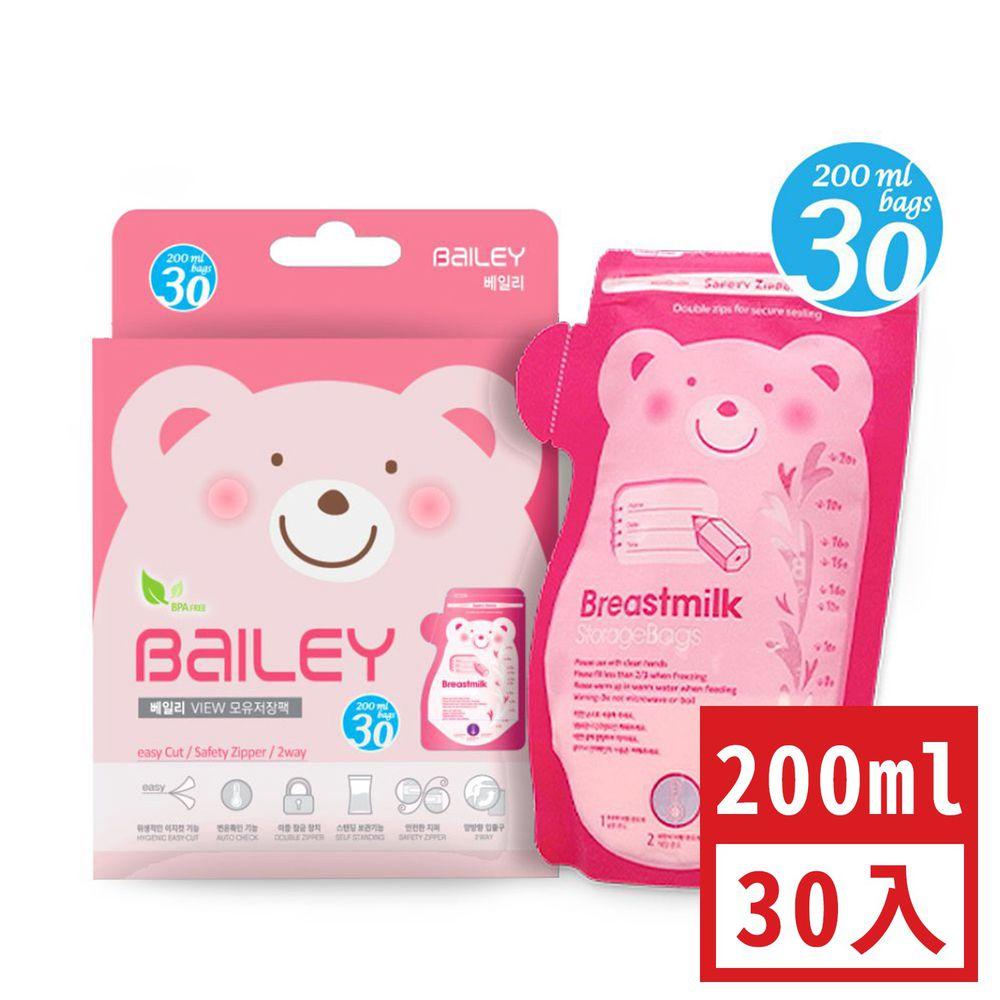 韓國 BAILEY 貝睿 - 感溫母乳儲存袋-壺嘴型 (200ml)-30入