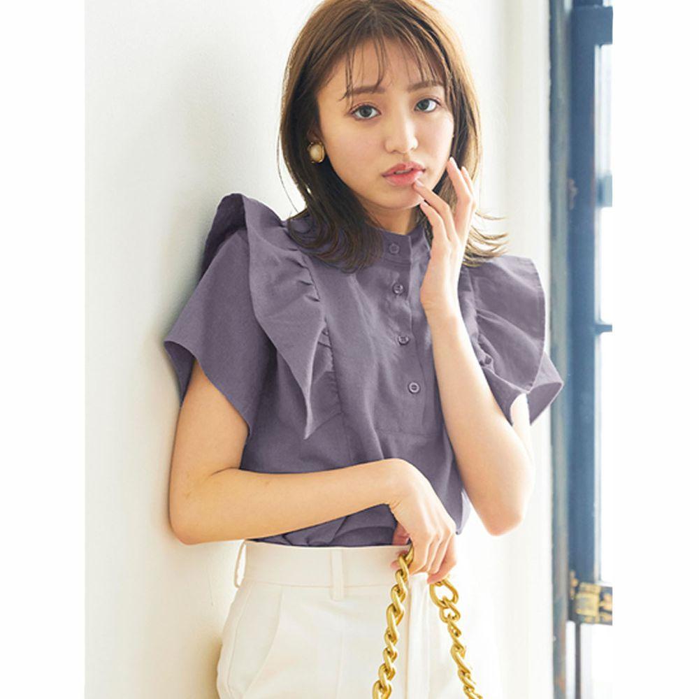 日本 GRL - 排釦圓領荷葉邊設計短袖上衣-薰衣草