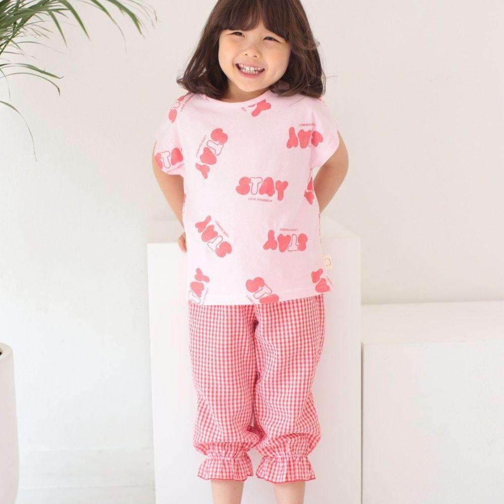 韓國 Dalla - 童趣圖案格子套裝-字母粉