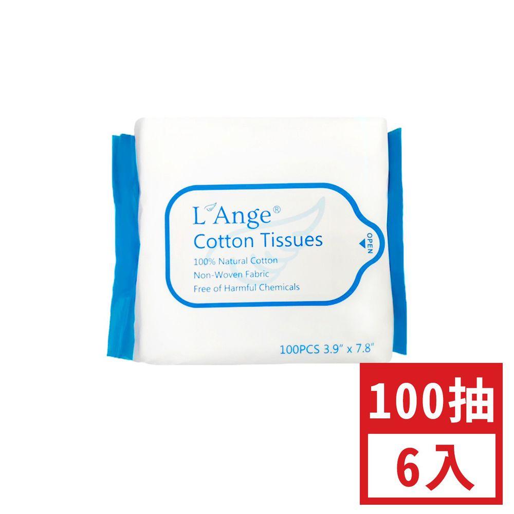 L'ange - 棉之境 抽取式純棉護理巾 (10x20cm)-100抽-6入