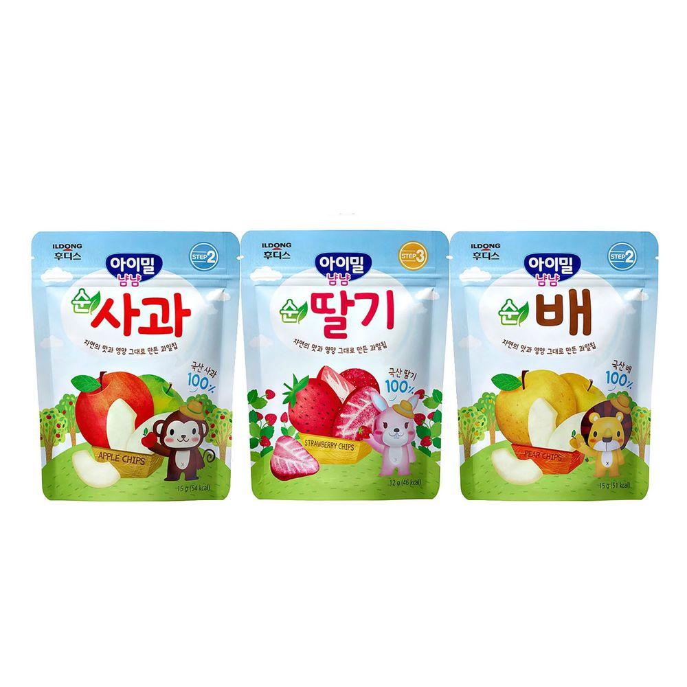 韓國Ildong Foodis日東 - 水果脆片3入組-梨*1+蘋果*1+草莓*1