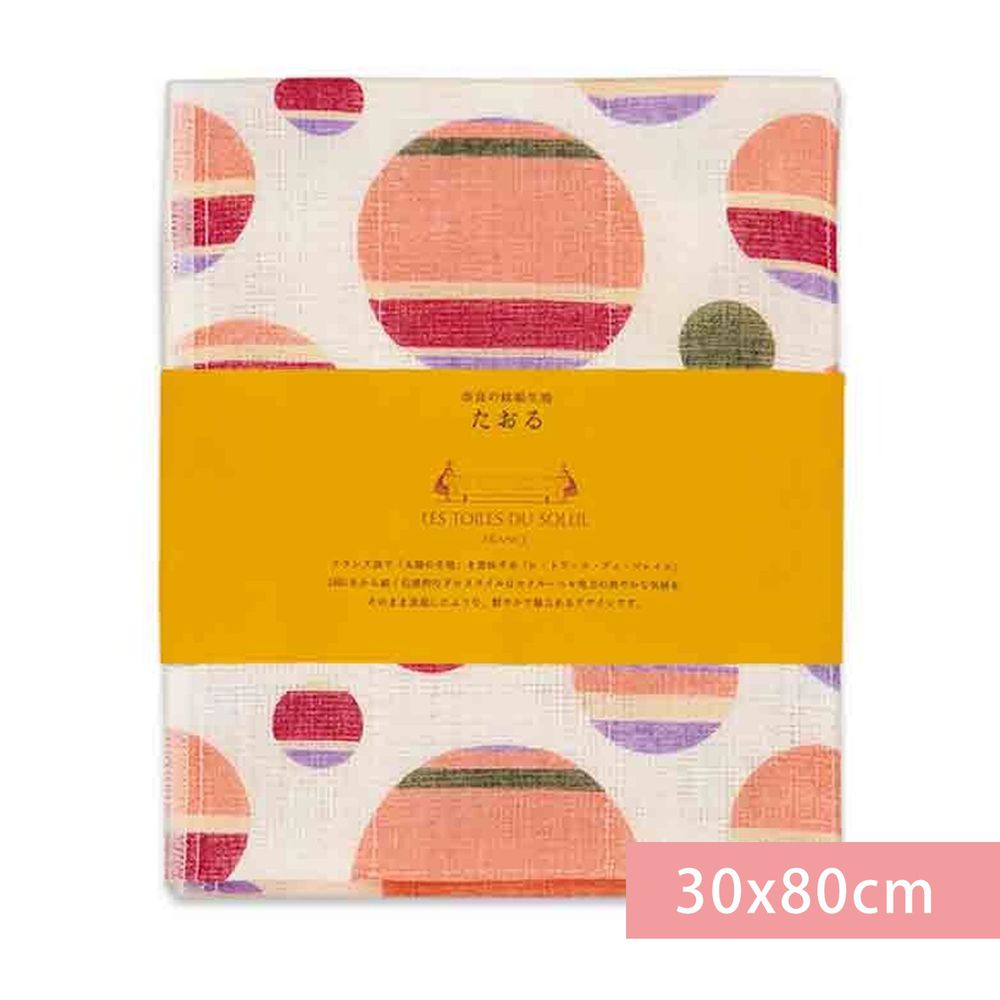 日本代購 - 【和布華】日本製奈良五重紗 長毛巾-撞色圓點-粉橘 (30x80cm)
