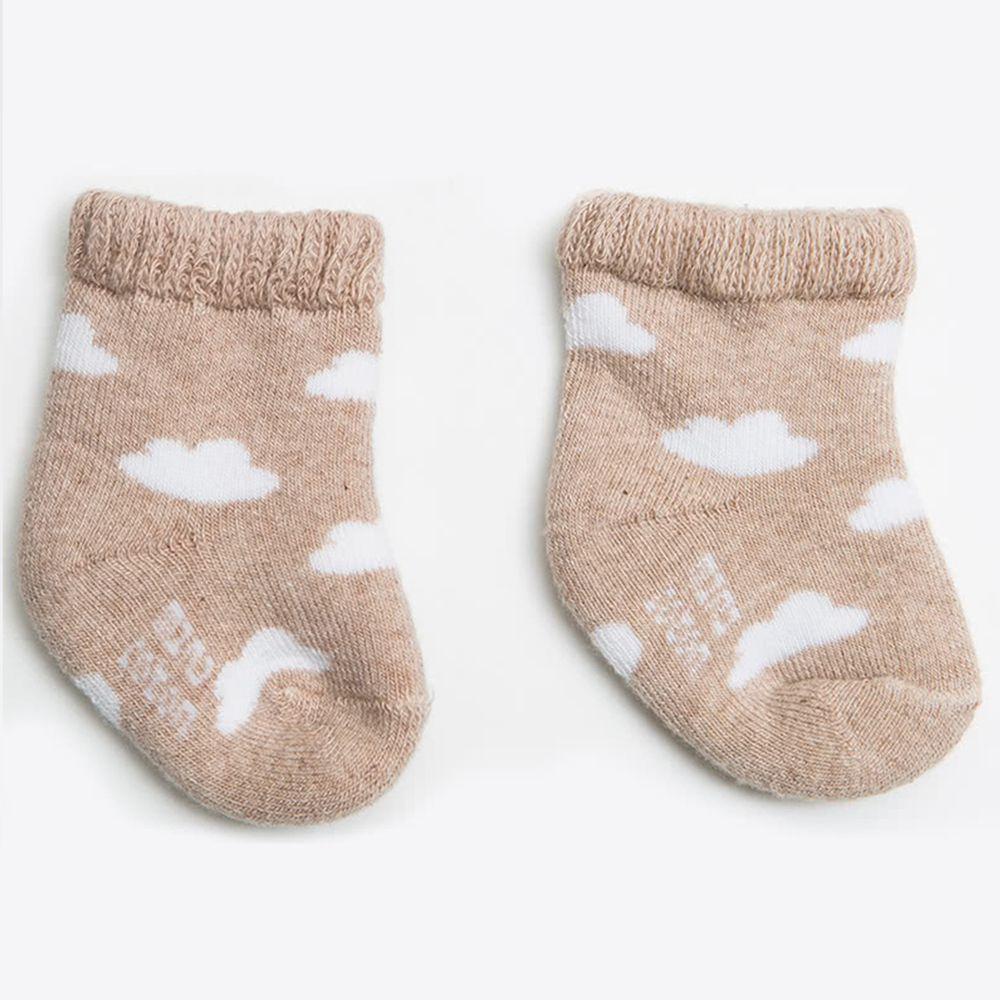 西班牙 Minicoton - 純棉寶寶短襪單入組-棕色雲朵 (0-6M)