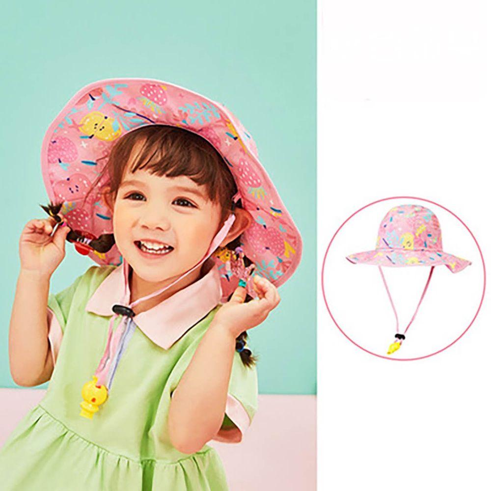 韓國lemonkid - 渡假風印花帽-粉色蘋果