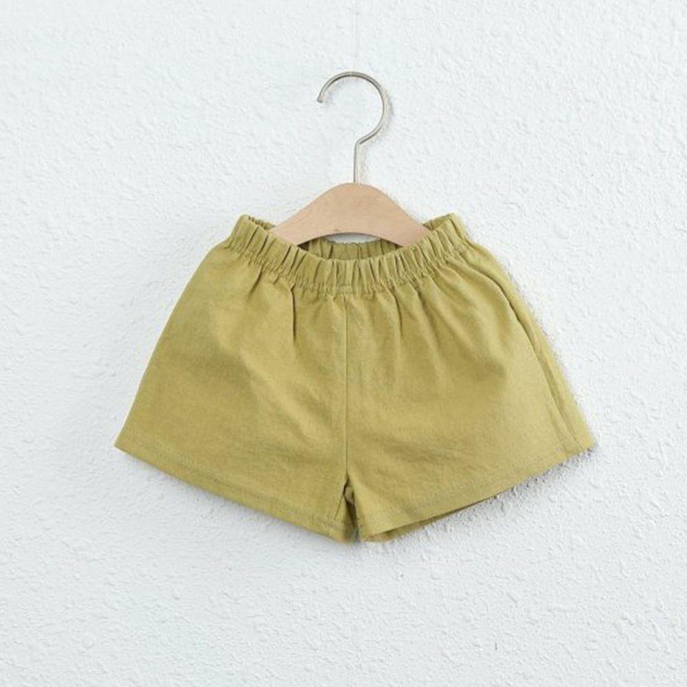 韓國製 - 棉麻小短褲-橄欖綠